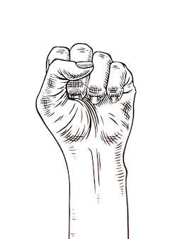 Símbolo del movimiento feminista. mano de mujer con un puño levantado