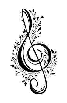 Símbolo de la música de clave de sol con flores lindas