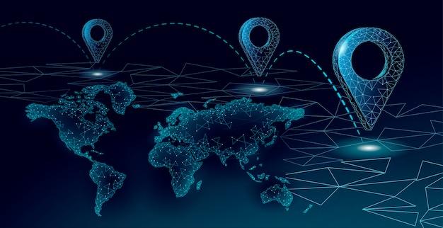Símbolo de negocio de ubicación de punto de mapa. planeta mundial de entrega poligonal icono realista. envío de compras en línea dirección ciudad dirección posición pin ilustración.