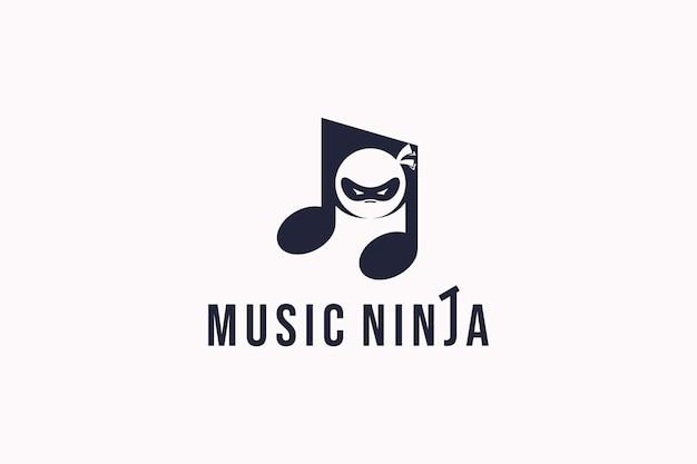 Símbolo de nota de nota de logotipo de máscara de ninja