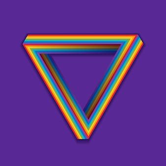 Símbolo de orgullo lgbt, triángulo transparente de arco iris en una violeta.