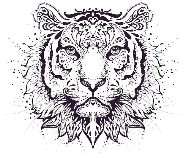Símbolo de patrón abstracto de cabeza de tigre signo del zodíaco de 2022 años. ilustración aislada