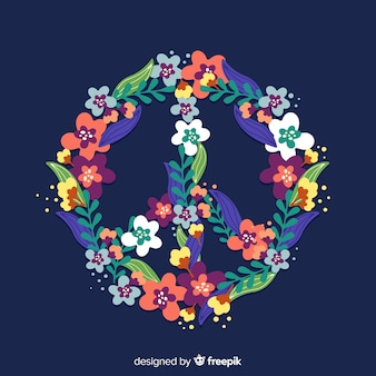 Símbolo de la paz adorable con estilo floral