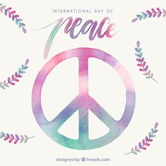 Símbolo de la paz y hojas de laurel en acuarela