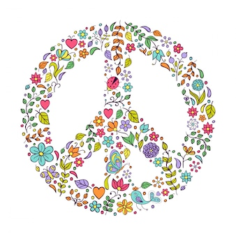 Símbolo de la paz sobre fondo blanco