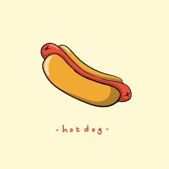 Símbolo del perrito caliente ilustración vector comida deliciosa