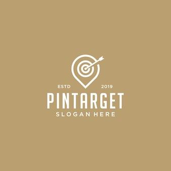 Símbolo de pin con vector logo de diana