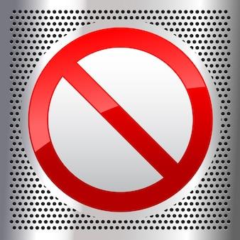 Símbolo prohibido firmar en una hoja de acero inoxidable perforada metálica