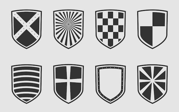 Símbolo de protección segura y guardia. establecer escudos heráldicos.