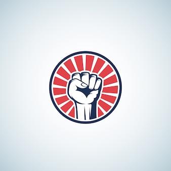 Símbolo de puño de rebelión activista rojo y azul. resumen
