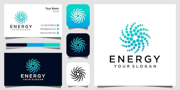 Símbolo de puntos abstractos. icono de forma redonda. energía solar, paneles solares y tarjeta de visita