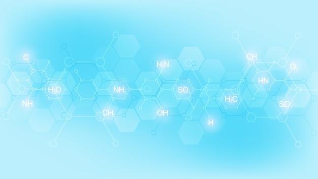 Símbolo de la química abstracta sobre fondo azul suave con fórmulas químicas y estructuras moleculares, concepto e idea para la tecnología de la ciencia y la innovación.