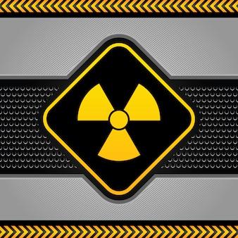 Símbolo radiactivo, plantilla industrial de fondo abstracto