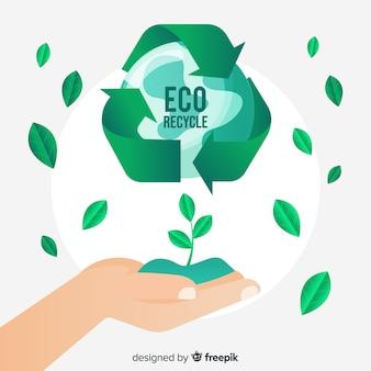 Símbolo de reciclaje y hojas verdes