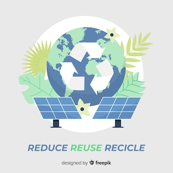 Símbolo de reciclaje y paneles solares