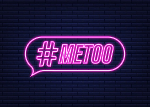 Símbolo de retroceso del jueves de hashtag de metoo. icono de neón. ilustración de stock vectorial.