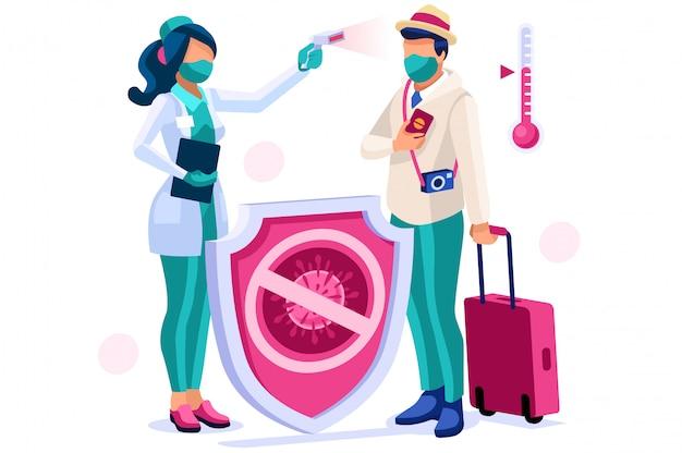 Símbolo de riesgo de viaje de coronavirus