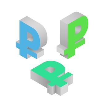 Símbolo rublo moneda. iconos isométricos vector ilustración 3d
