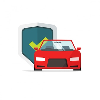 Símbolo de seguro de automóvil o automóvil protegido con dibujos animados planos de ilustración de escudo