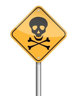 Símbolo de la señal de peligro del poste del cráneo del peligro