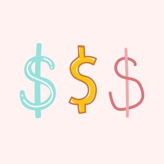 Símbolo, signo de dólar, garabato, fuente, tipografía, mano, dibujado, conjunto