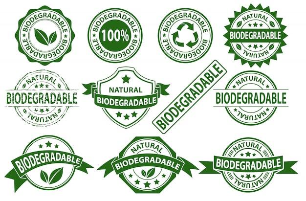 Símbolo de signo de etiqueta de sello de caucho biodegradable, conjunto de vectores de etiqueta compostable