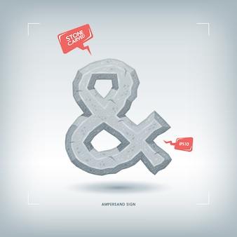 Símbolo de símbolo. elemento de tipografía tallada en piedra. ilustración.