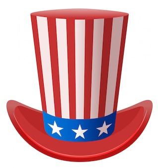 Símbolo del sombrero del tío sam a rayas de estrellas estados unidos de américa