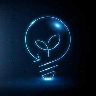 Símbolo de tecnología limpia de vector de icono de bombilla ambiental