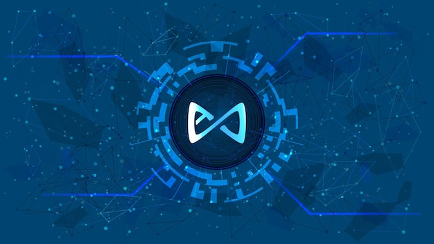 Símbolo de token axie infinity axs en círculo digital con tema de criptomoneda futurista sobre fondo azul. icono de moneda de criptomoneda para banner o noticias. ilustración vectorial.