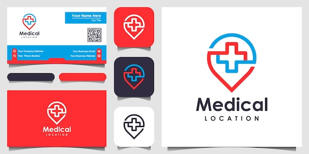 Símbolo de ubicación médica con diseño de logotipo y tarjeta de presentación de estilo de arte lineal