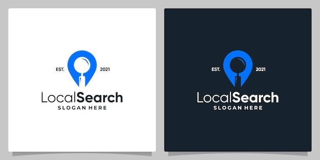 Símbolo de ubicación de pin de mapa con logotipo, lupa y diseño de tarjeta de visita.