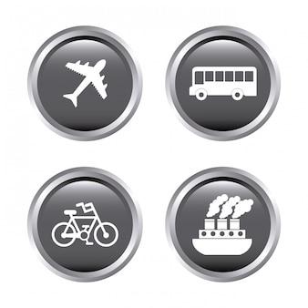 Símbolo de viaje sobre blanco