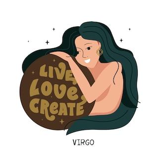 Símbolo del zodíaco virgo y niña la frase crear amor en vivo es buena para los horóscopos de astrología