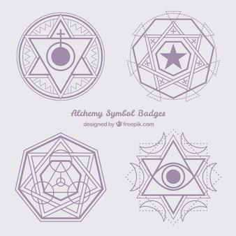 Símbolos abstractos de alquimia violetas