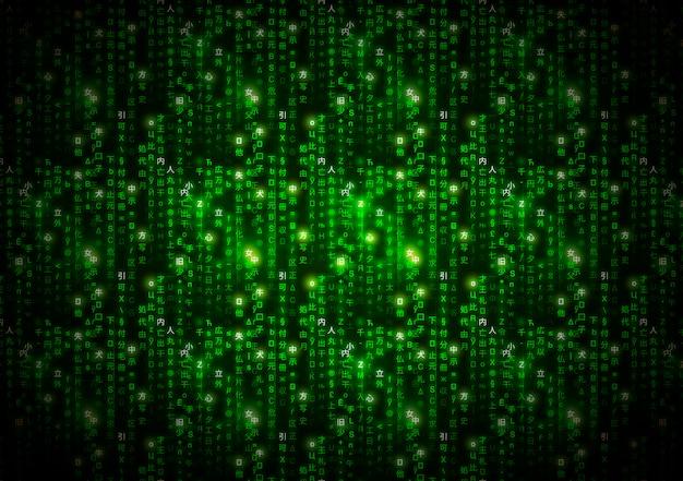Símbolos abstractos de matriz verde, código binario digital sobre fondo oscuro, tecnología