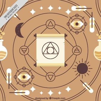 Símbolos y accesorios espirituales abstractos