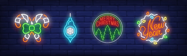 Símbolos de adornos navideños en estilo neón