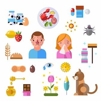 Símbolos de alergia y símbolos de vectores de información de enfermedades de personas.