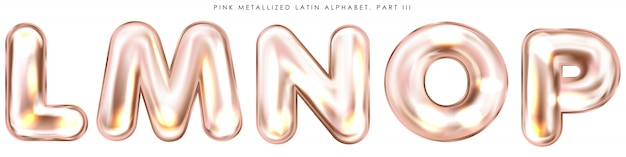 Símbolos del alfabeto inflado con lámina rosa perl, letras aisladas lmnop
