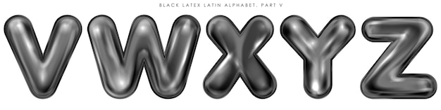Símbolos del alfabeto inflados con látex negro, letras aisladas vwxyz