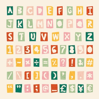 Símbolos, alfabeto, letras de fuentes de números