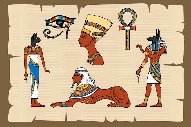 Símbolos del antiguo egipto en papiro