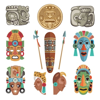 Símbolos antiguos mayas e imágenes