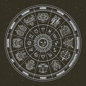 Símbolos astrológicos y signos místicos. círculo del zodiaco con signos del horóscopo. linea fina .