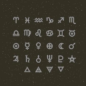 Símbolos astrológicos y signos místicos. conjunto de elementos gráficos astrológicos. colección de iconos