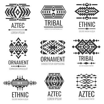 Símbolos aztecas mexicanos. adornos tribales vector vintage