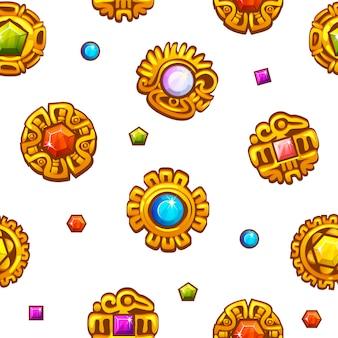 Símbolos aztecas de patrones sin fisuras con gemas preciosas de colores