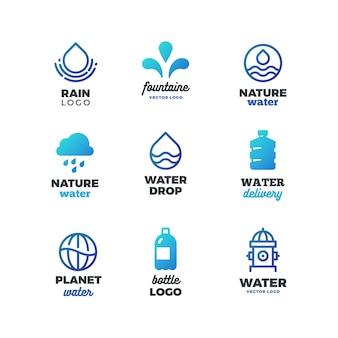 Símbolos de bebida y logotipo de agua, emblemas del océano ecológico