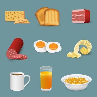 Símbolos de bebidas y alimentos frescos de la mañana, iconos de desayuno